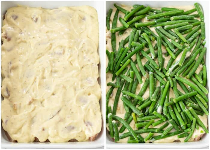 A casserole dish with chicken, cream of chicken, and green beans for chicken and stuffing casserole.