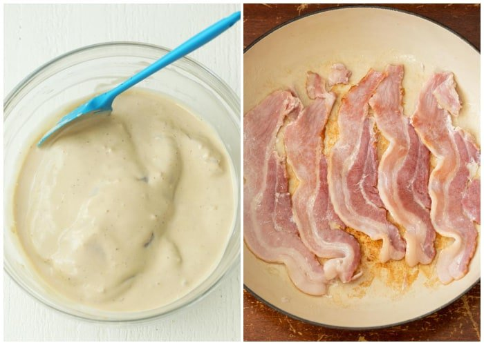A bowl of chicken in marinade next to bacon in a frying pan that's being cooked.