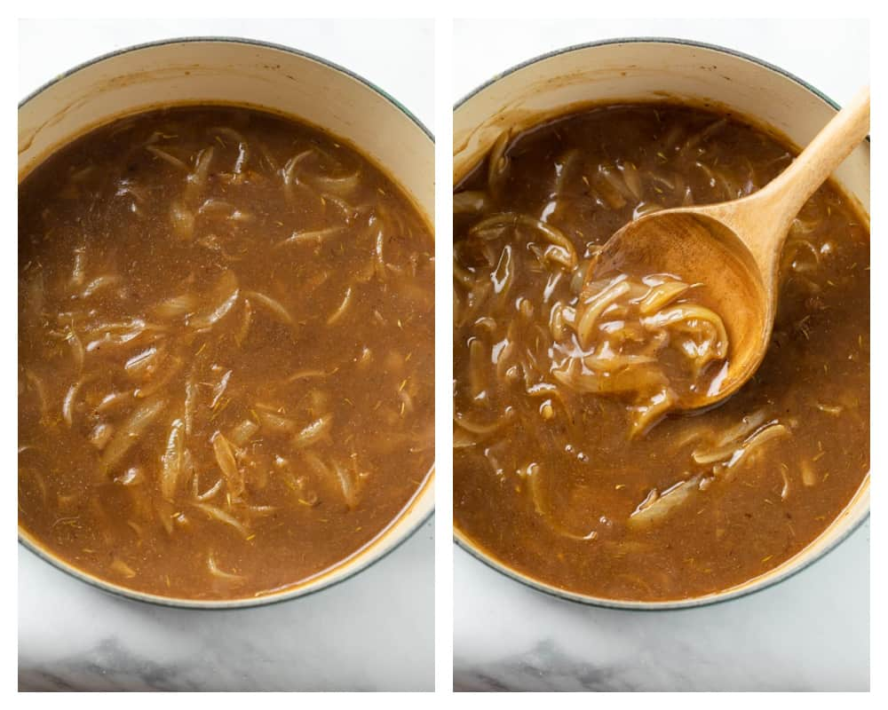 Onion Gravy in a pot before and after boiling and thickening.