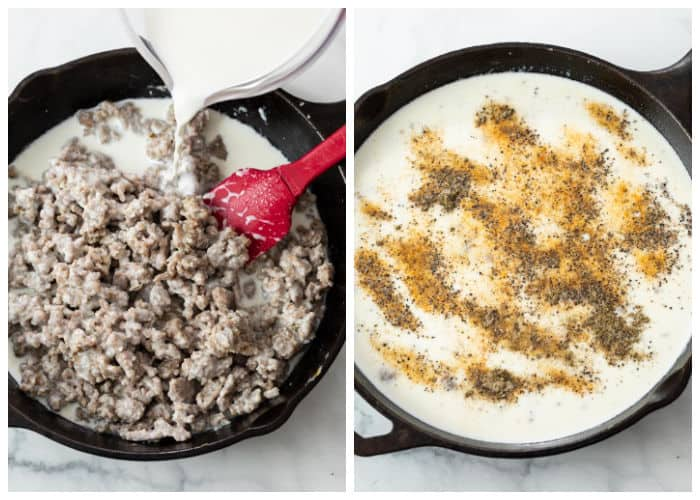 A skillet with sausage in it and milk and seasonings being added to make sausage gravy.