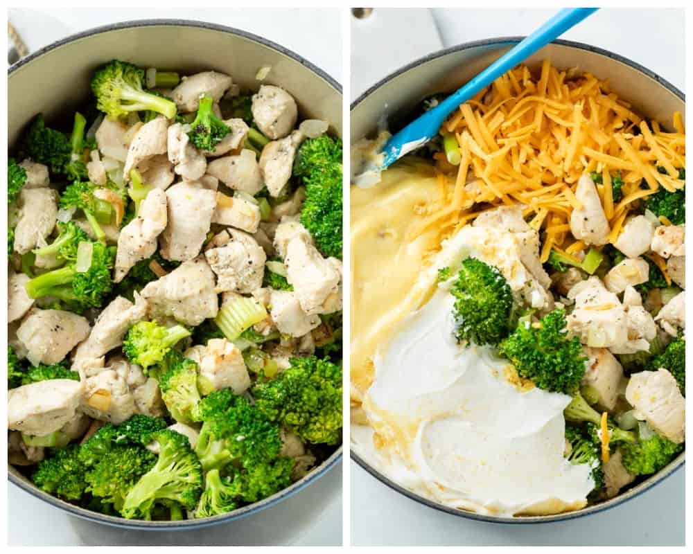 A dutch oven filled with chicken and broccoli with sauce ingredients being added to make Chicken Divan.