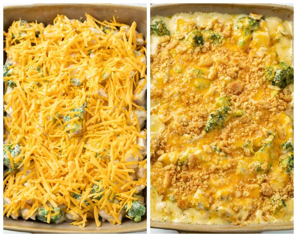 A casserole dish with Chicken Divan before and after being baked.