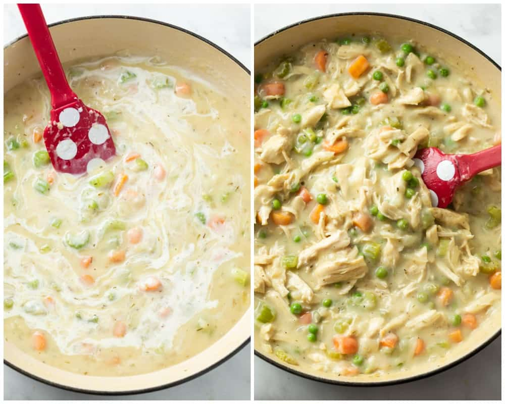 Adding cream, shredded chicken, and peas for Chicken Pot Pie with Biscuits.
