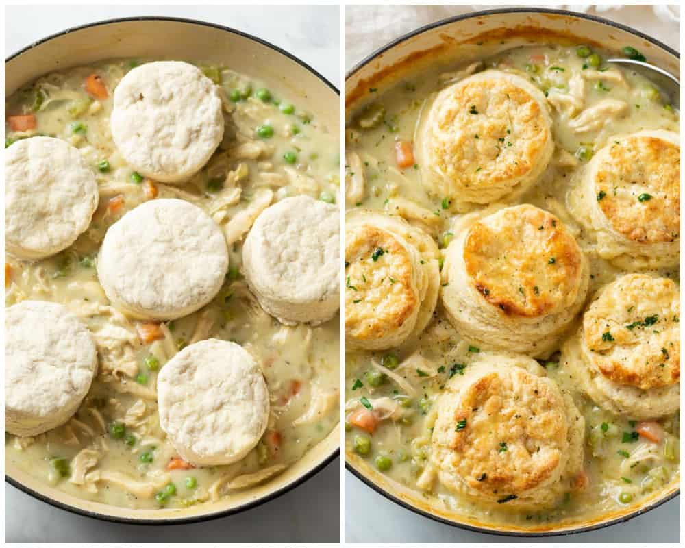 Chicken Pot Pie with Biscuits before and after being baked.