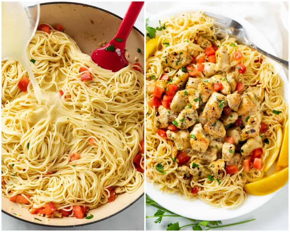 Adding cheesy pasta water to angel hair and combining with chicken to make Chicken Scampi.