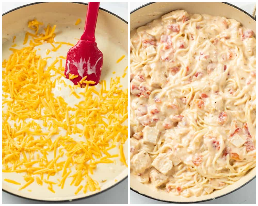Making chicken spaghetti by adding shredded cheese, spaghetti, and chicken to a casserole dish with cheese sauce.