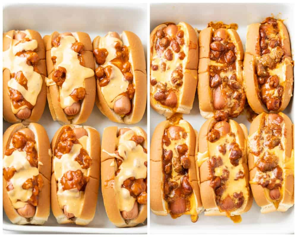Chili Cheese Dogs in a baking dish before and after being baked.