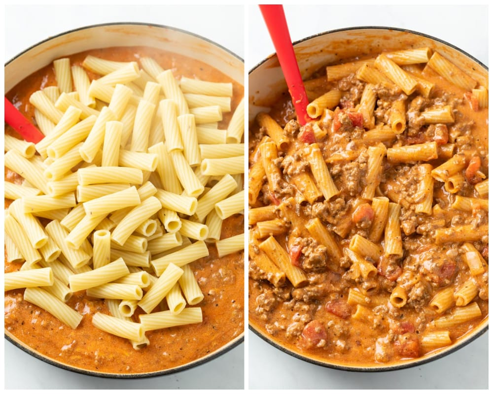 Adding warm penne noodles and stirring them into creamy tomato sauce with ground beef for ground beef casserole.