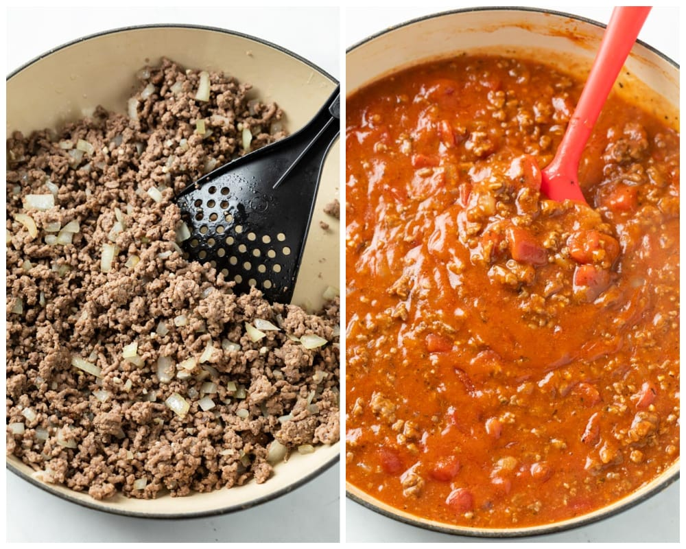 Ground beef in a pot with tomato sauce being added for ground beef casserole.
