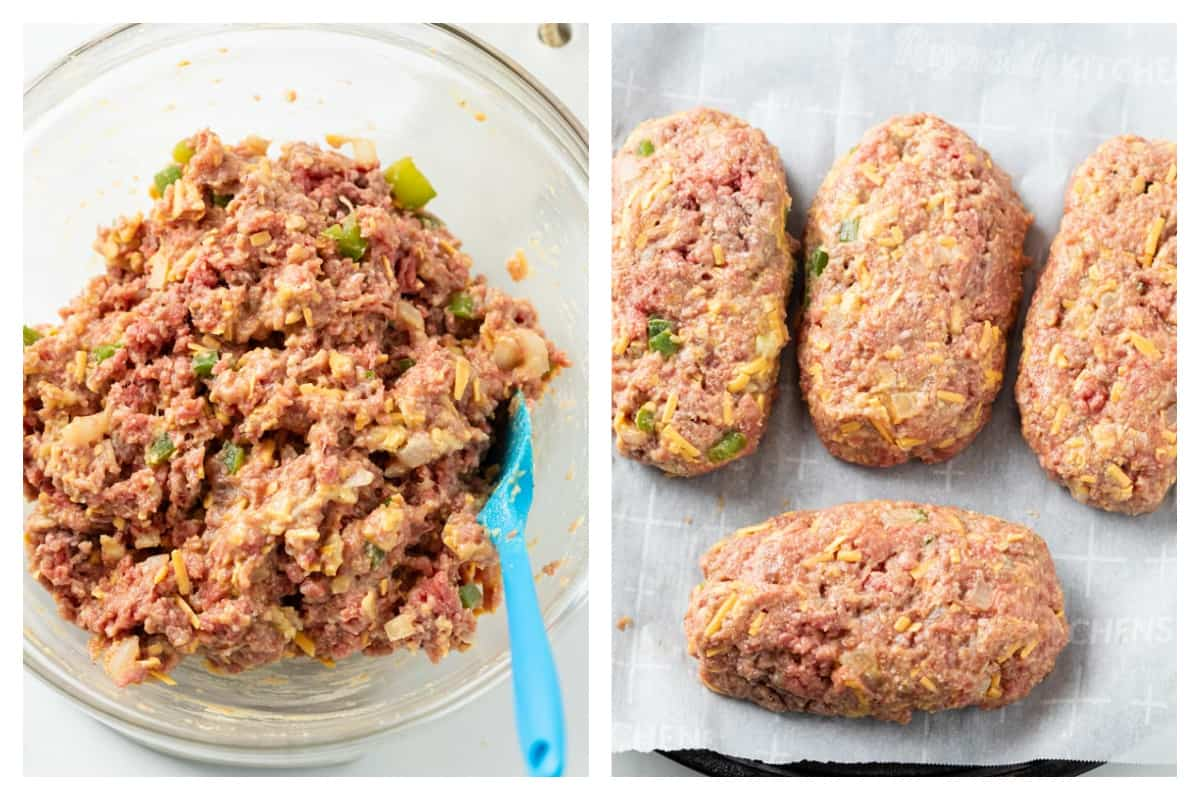 Combined meatloaf mixture in a glass bowl next to a baking sheet with molded mini meatloaf.