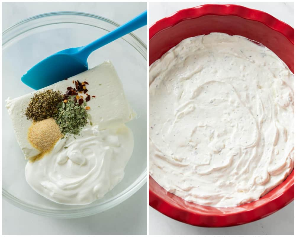 Mixing cream cheese, sour cream, and seasonings in a bowl and putting them in a pie plate for pizza dip.