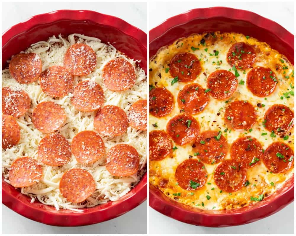 Pizza dip topped with pepperoni in a pie plate before and after baking.