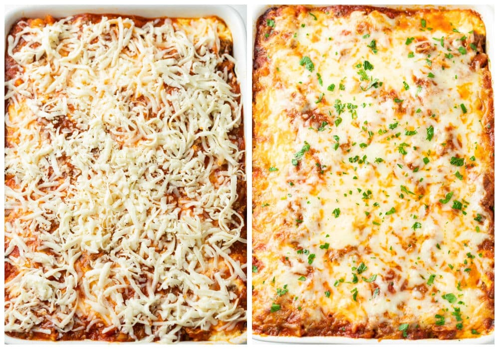 A Pasta Bake in a casserole dish with mozzarella cheese before and after baking.