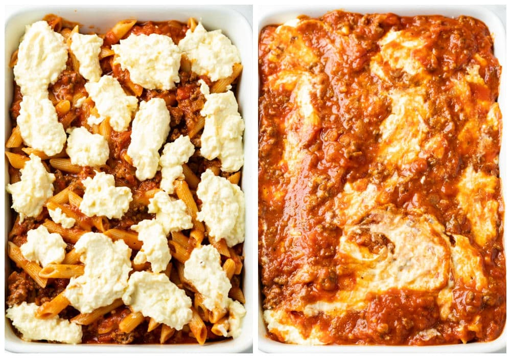 Making a pasta bake by adding a ricotta cheese mixture on top of pasta with sauce.