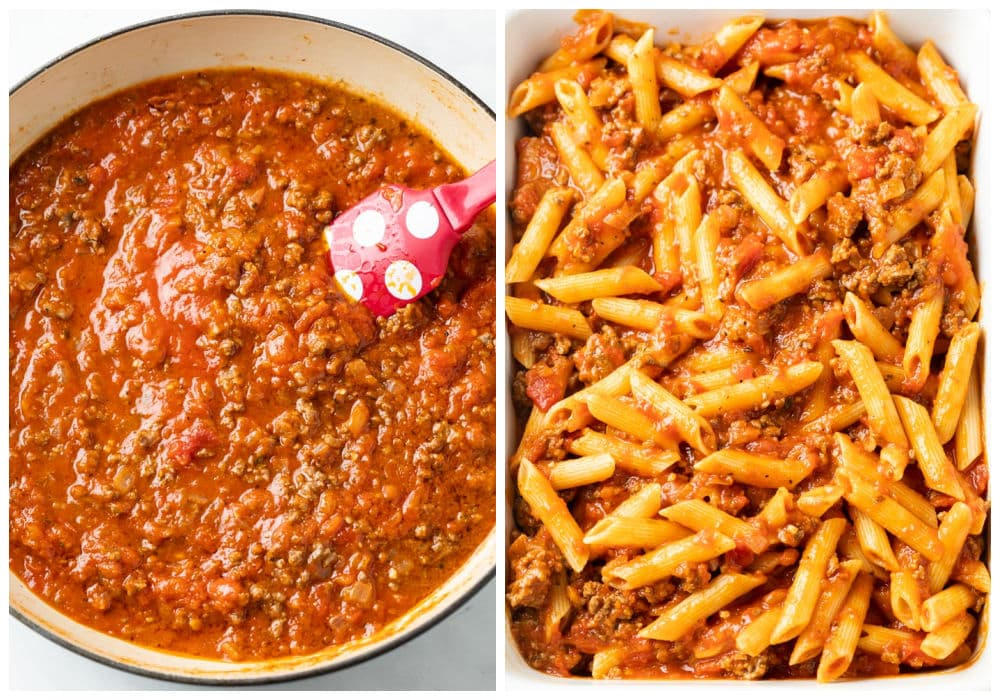 A saucepan with meat sauce next to a casserole dish with Pasta in meat sauce.