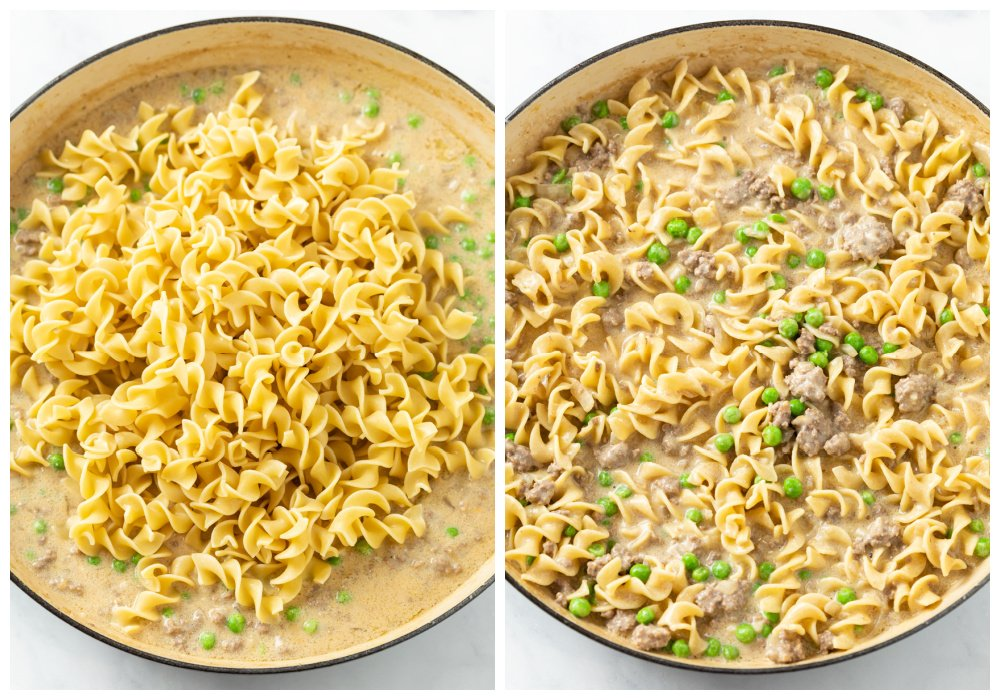 Adding egg noodles to creamy stroganoff sauce with ground beef and peas.