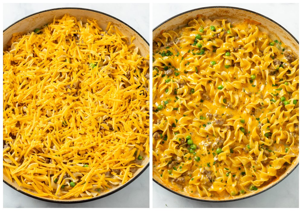 Ground beef stroganoff topped with cheese before and after baking.
