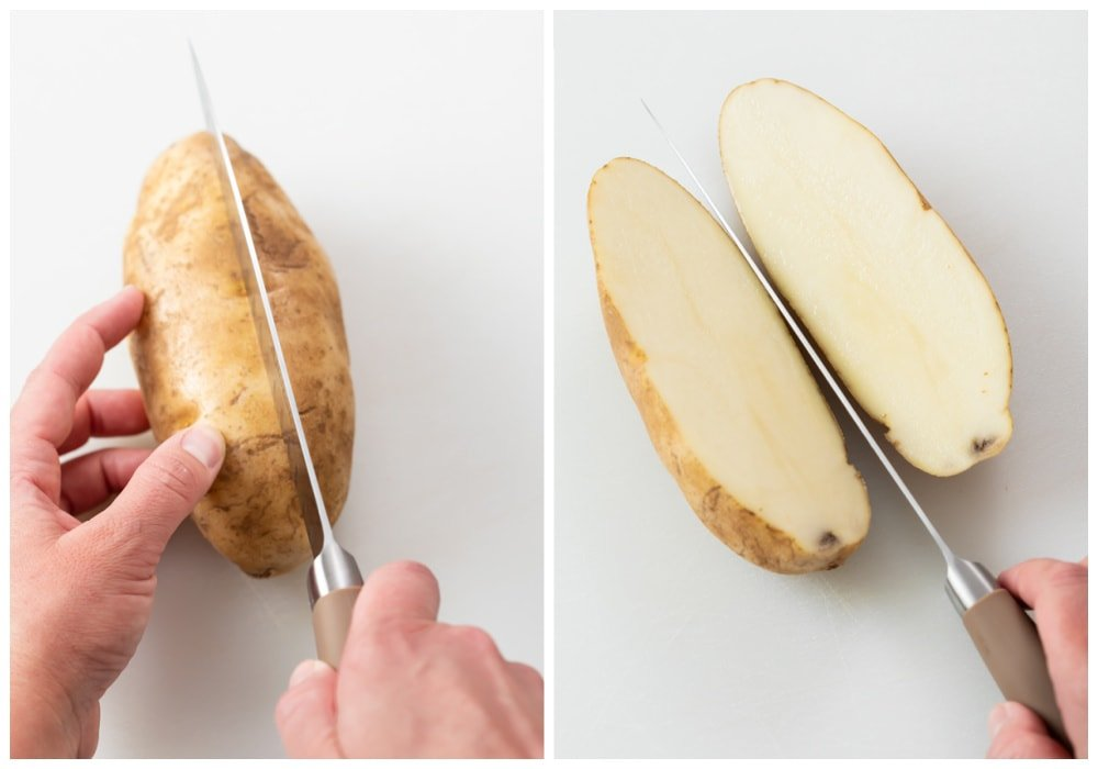 Cutting a Russet potato in half to make Potato Wedges.