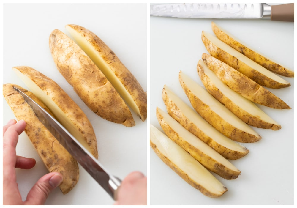 Cutting a russet potato into wedges to make baked potato wedges.