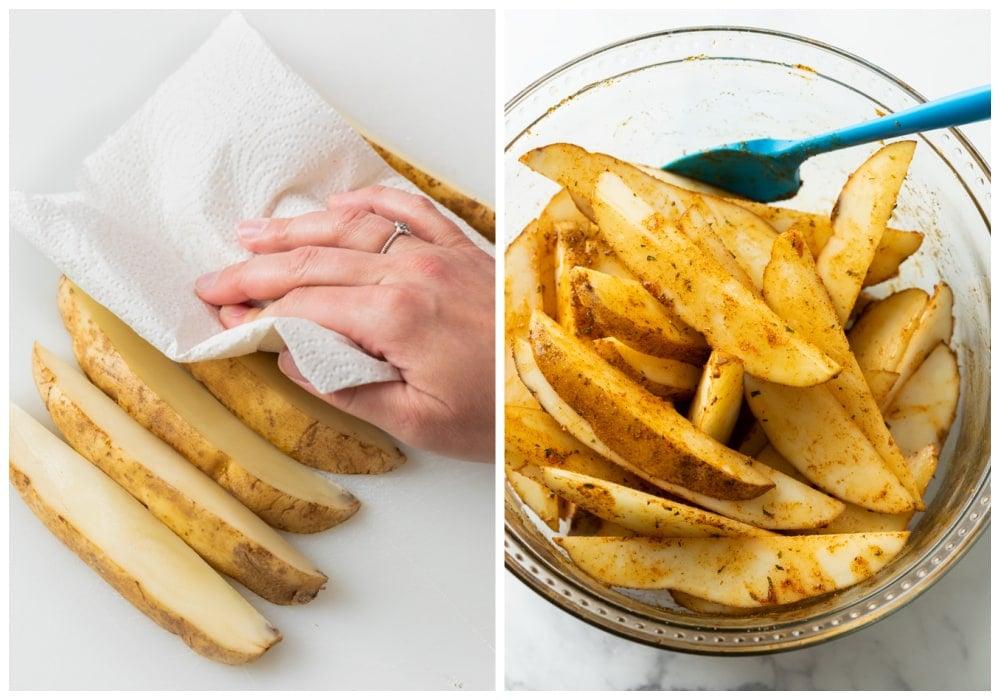 Patting potato wedges dry and adding seasoning before baking.