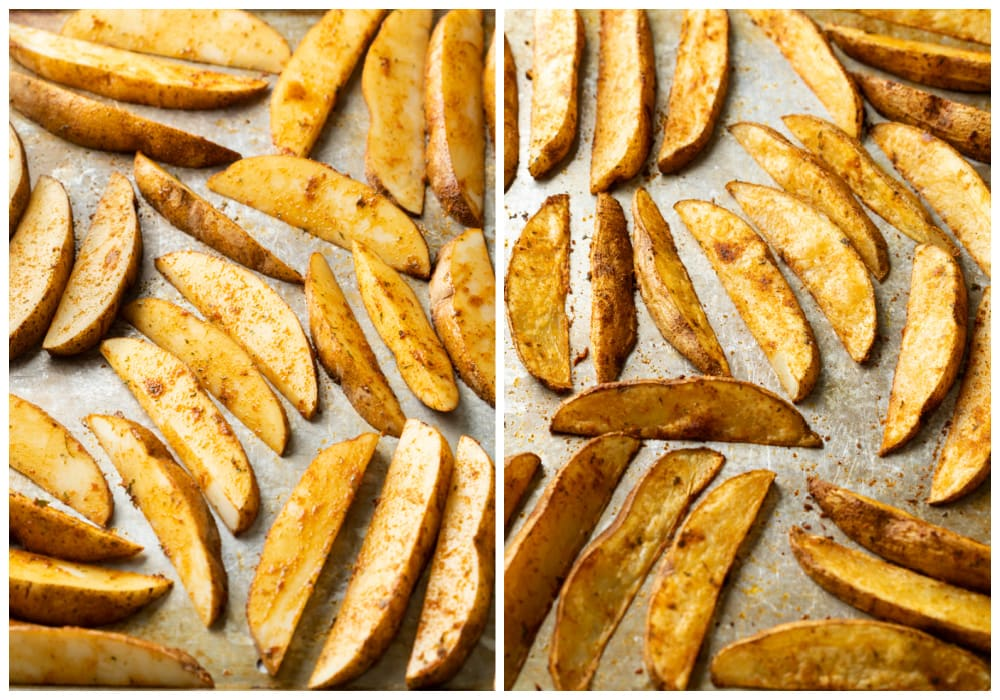 Baked potato wedges on a baking sheet before and after baking.