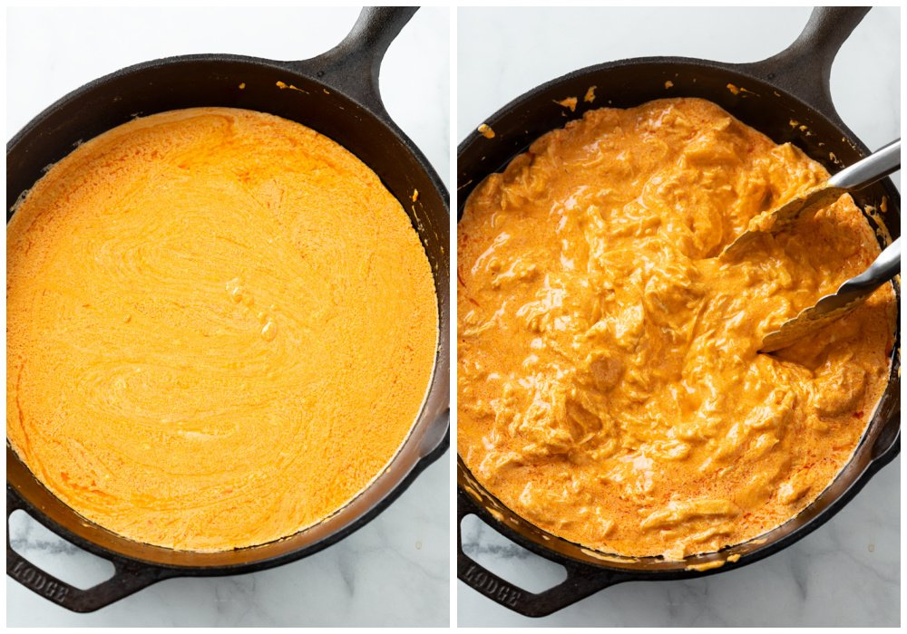 Making Buffalo Chicken Dip Sauce in a cast iron skillet and adding shredded chicken.