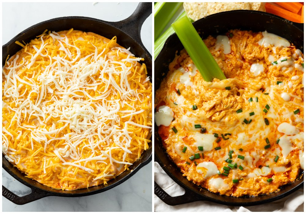 Buffalo Chicken Dip before and after baking.