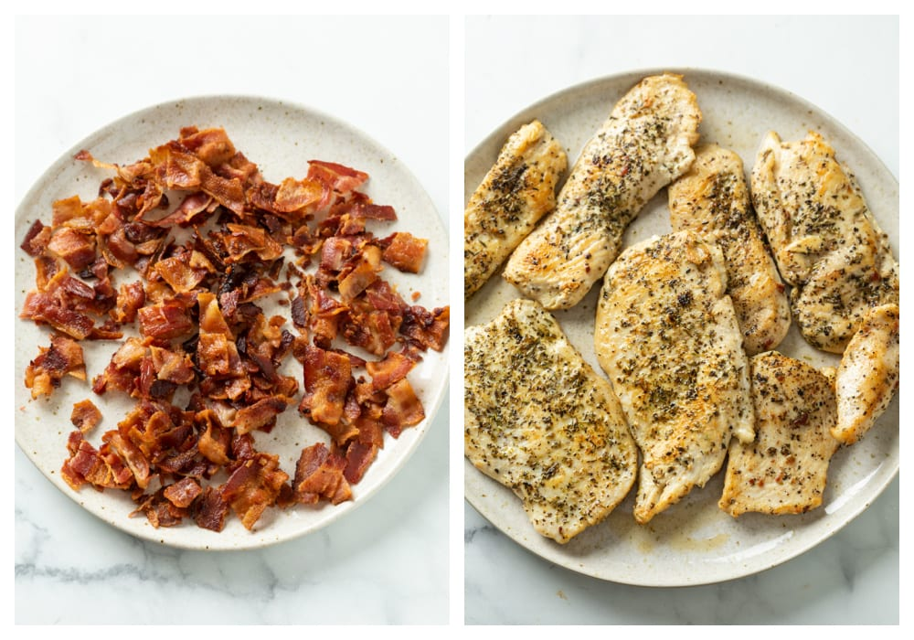 A plate of chopped up crispy bacon next to a plate of season and seared chicken.