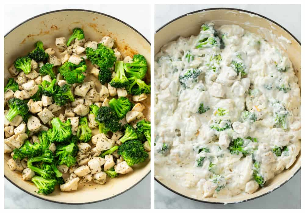 Making chicken noodle casserole in a pot with chicken, broccoli, and white sauce.
