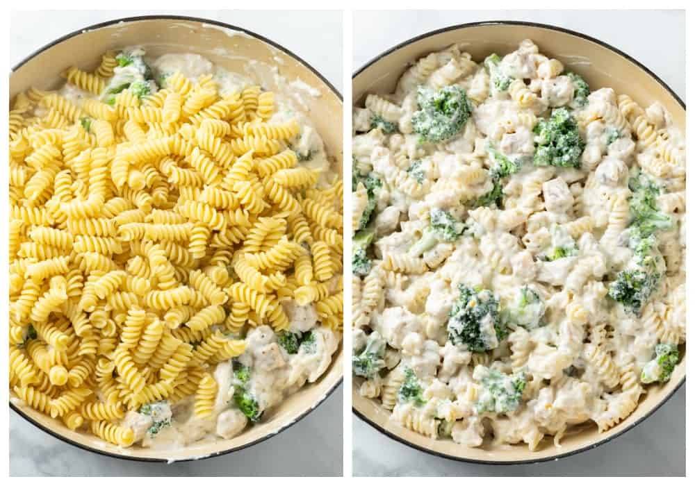 Adding rotini noodles to chicken and broccoli white sauce for chicken noodle casserole.