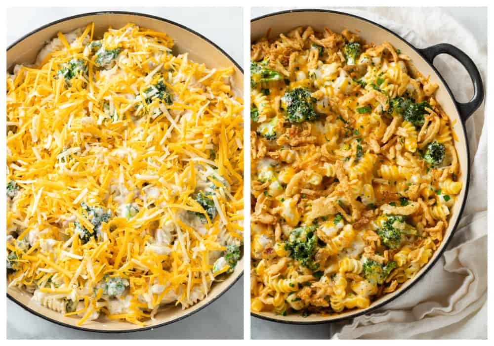 Cheesy Chicken Noodle Casserole before and after baking.