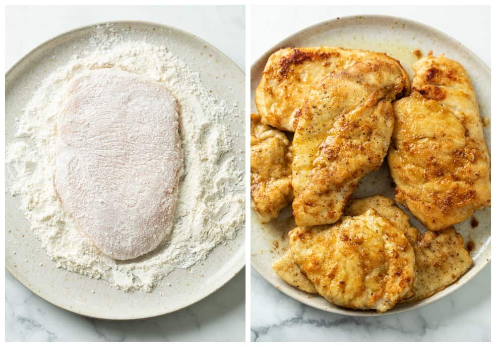 Chicken coated in a Parmesan flour mixture next to a plate of seared crispy chicken for Chicken Piccata.