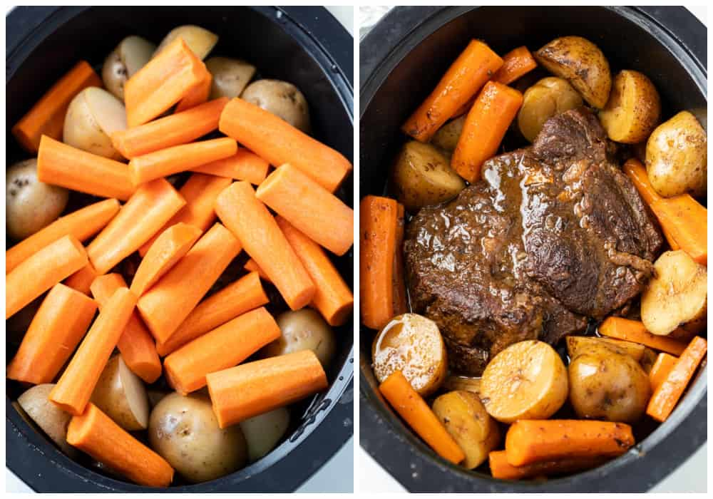 Crock Pot Roast in a slow cooker before and after cooking.
