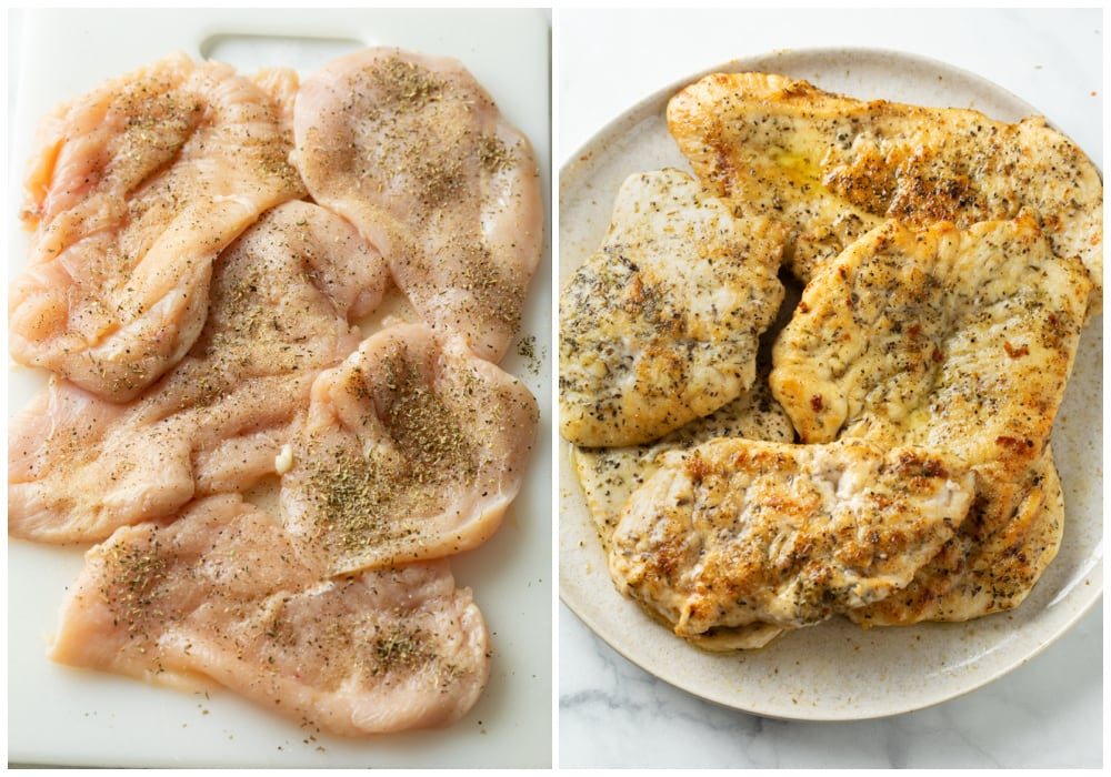 Chicken breasts before and after searing.