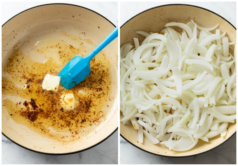Adding butter and sliced onions to a skillet to make the sauce for French Onion Chicken.