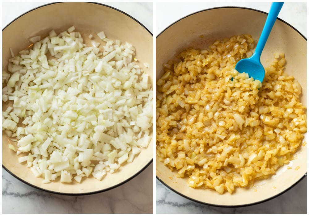 Diced onions in a pot being caramelized to make French Onion Dip.