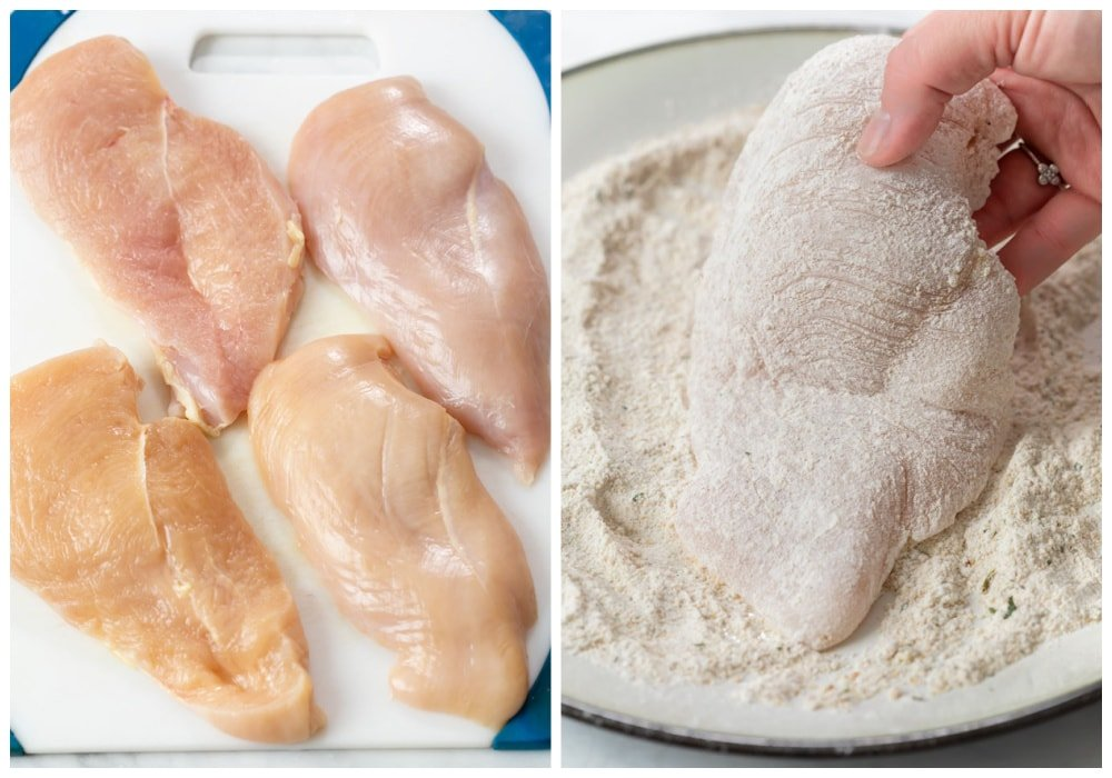 Chicken breasts sliced in half and coated in flour.