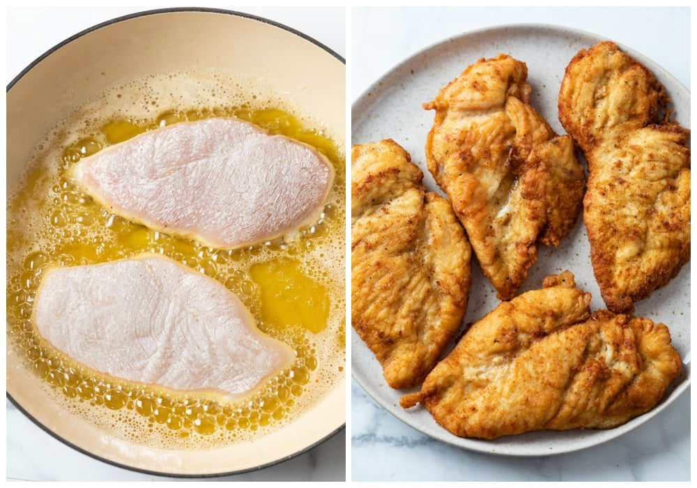 Chicken breasts before and after frying in oil.