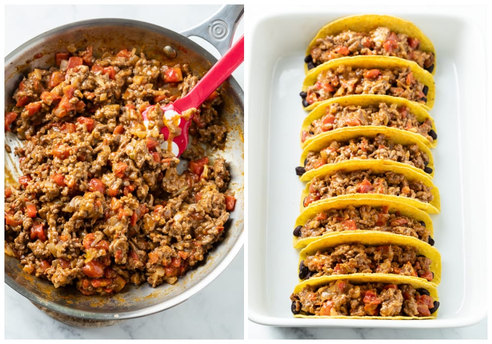 Cooking ground beef mixture and adding them to hard shell tacos in a casserole dish.