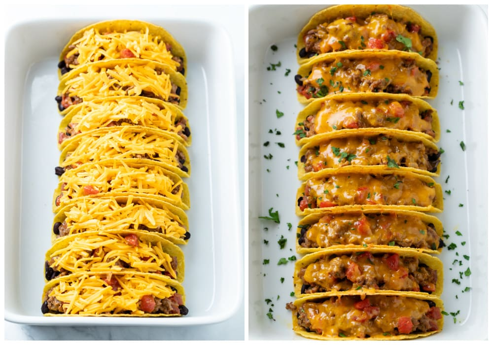 Tacos lined up in a white casserole dish before and after baking with cheese on top.