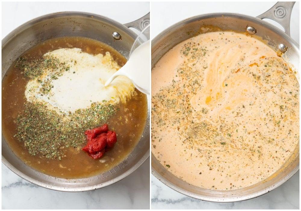 Adding seasonings, tomato paste, and cream to a skillet to make Bacon Pasta.