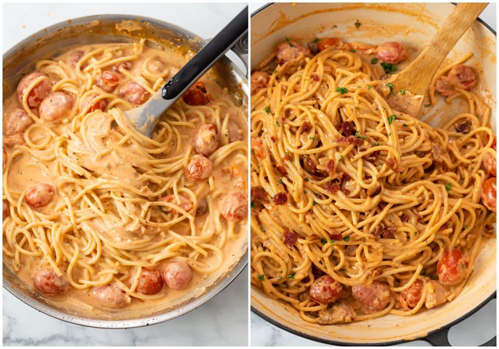 Stirring pasta into creamy tomato bacon sauce in a skillet.