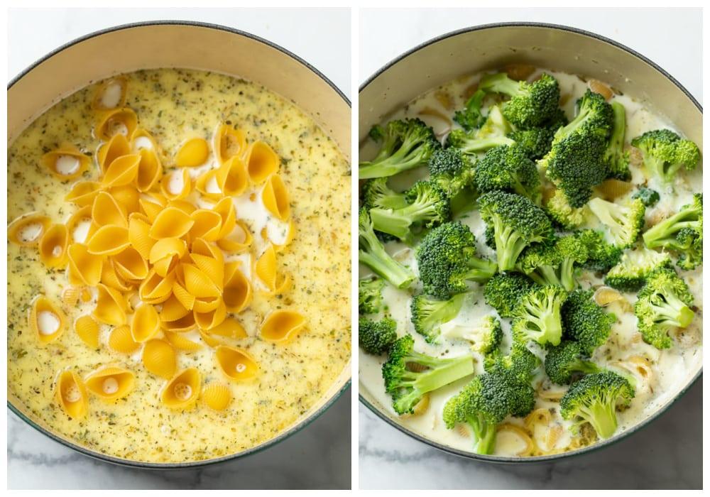 Adding shell pasta and broccoli to a pot of sauce to make broccoli pasta.