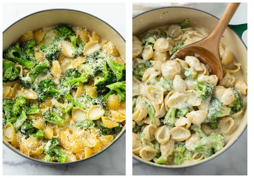 Adding cheese to pasta shells and stirring to combine to make creamy broccoli pasta.