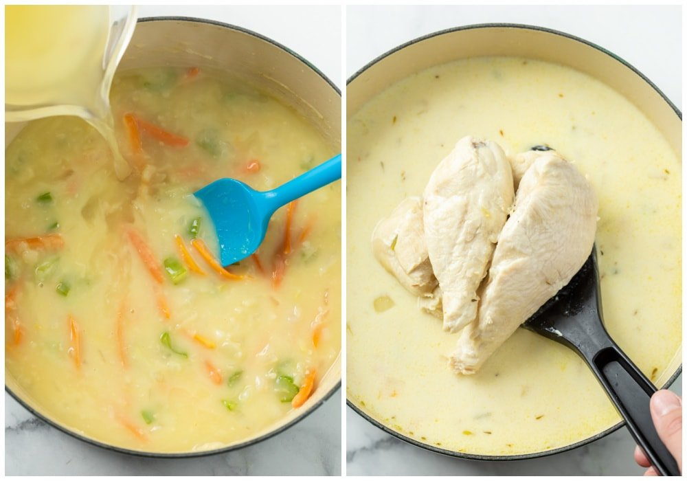 Adding broth and chicken to soup to make Chicken Gnocchi Soup.