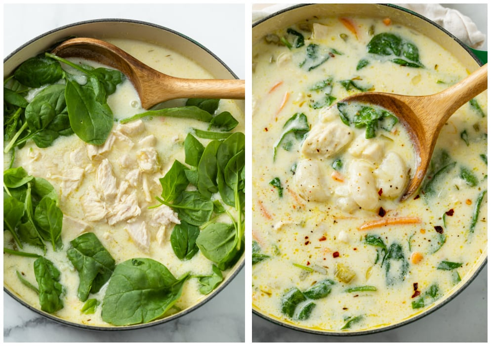Adding cooked chicken and fresh spinach to a pot of Chicken Gnocchi Soup.