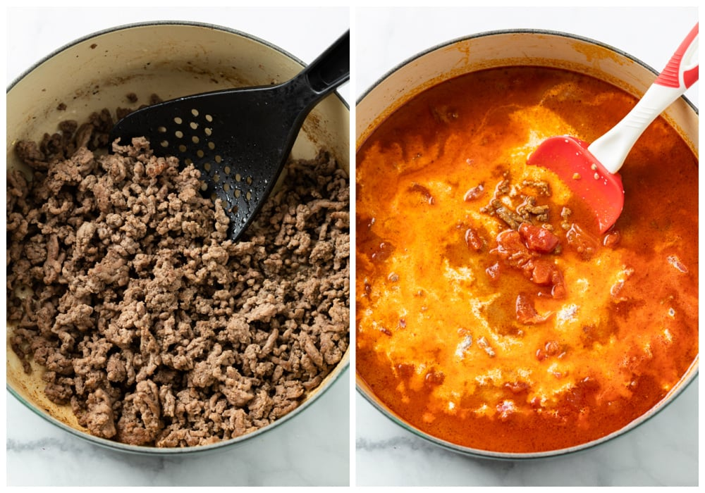 A pot with ground beef next to a pot with sauce to make Taco Pasta.