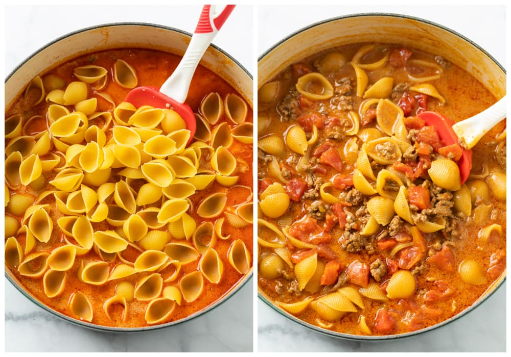 A pot with uncooked pasta shells in sauce in sauce next to a pot with cooked pasta shells in sauce.