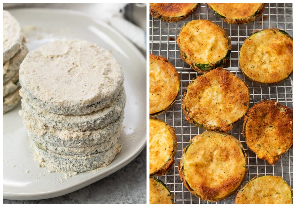 Breaded Zucchini Parmesan before and after bring fried.