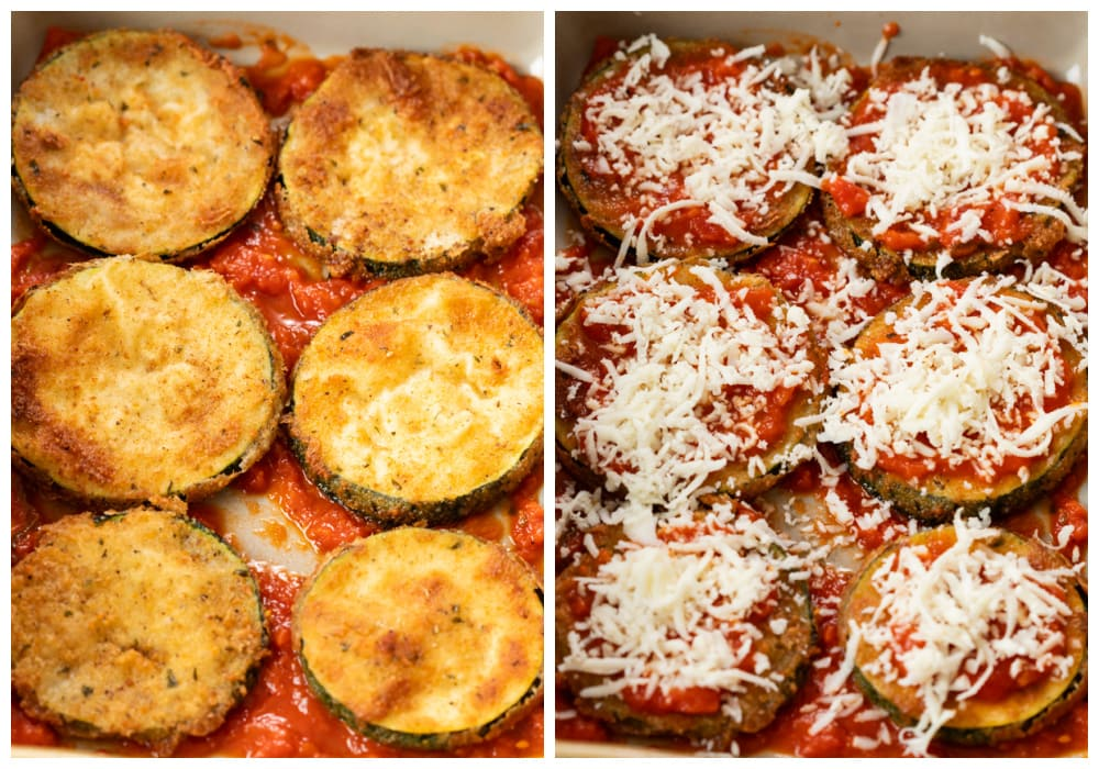 Layering breaded Zucchini Parmesan with marinara sauce and cheese in a casserole dish.